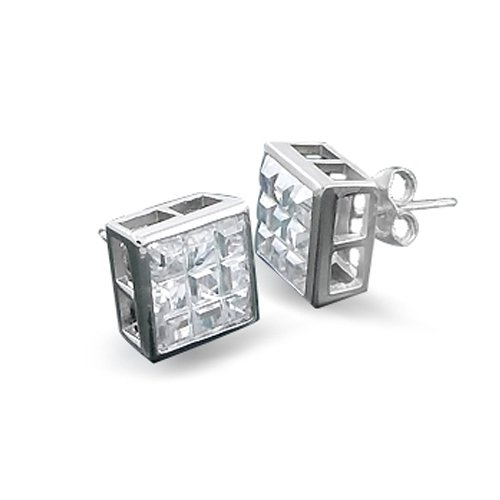 Bling Jewelry Sterling Silver Bezel Square Invisible Cut CZ Stud Earrings 10mm