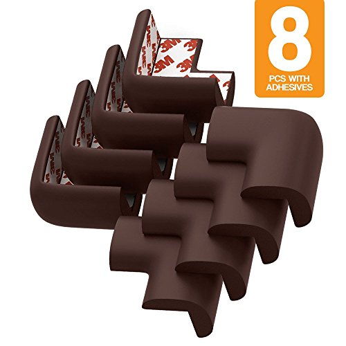 My Baby Table Corner Guards | 8 Pcs of Dark Brown Flexible Babyproof Furniture Bumper Corner Cushion Guard with 3-M Adhesive Tape For Quick Installation | Soft NBR Material | 252.2 (Countertop Baby Chair compare prices)
