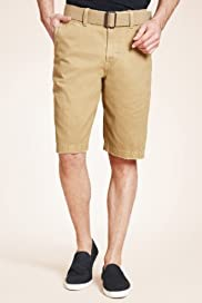 North Coast Pure Cotton Belted Chino Shorts [T17-2232N-S]