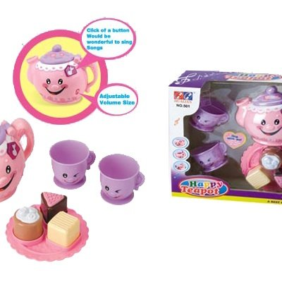 "Happy Teapot ""Sing With Me"" Child'S Toy Teaset With Musical Teapot, 2 Cups And A Plate Of 3 Cakes front-108688"