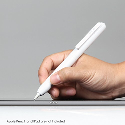 """Ztylus Apple Pencil Case Only - Multifunctional Case, Built-In Clip, Secures Cap, and Retractable Tip Protection for iPad Pro 12.9"""" 9.7"""" Apple Pencil (White)"""