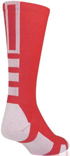 Baseline 2.0 Athletic Crew Socks (Red/White, Small) front-895127