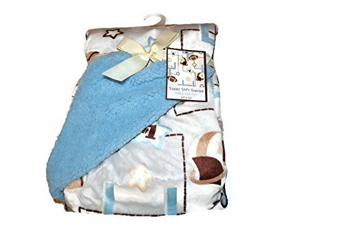 Baby Blanket-Football theme with light blue