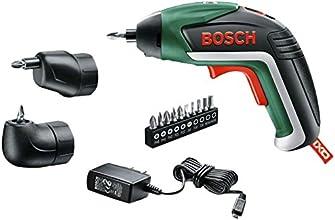 Bosch Home and Garden Akku-Schrauber IXO Set 5. Generation, Winkelaufsatz, Exzenteraufsatz, 10 Schrauberbits, USB-Ladegerät, Metalldose (3,6 V, 1,5 Ah)
