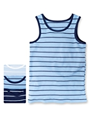 3 Pack Autograph Superfine Pure Cotton Striped Vests