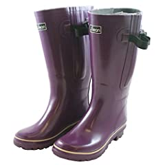 Extra Wide Calf Women's Rubber Rain Boots: Up to 21 Inch Calf - Purple