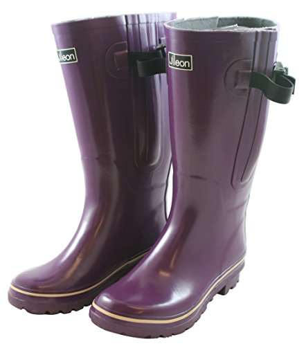 Jileon Extra Wide (E) Calf All Weather Durable Rubber Rain Boots   Fit Perfectly For Calf Sizes Up To 21 Inches