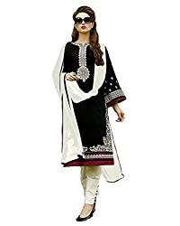 AnK Festival Sale Offer Women's Black & White Embroidered Cotton Semi Stitched Dress Material With Plain Dupatta