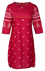 Zele Women's Cotton Straight Kurti (Z0002-A_Multi-Colour_Large)