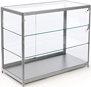 48 w free standing glass display case with. Black Bedroom Furniture Sets. Home Design Ideas