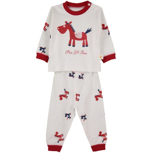 Deer Mum Cartoon Pony Pattern Long Sleeves 2 Pieces Pajama Set Pure Cotton (100, Red) front-519361