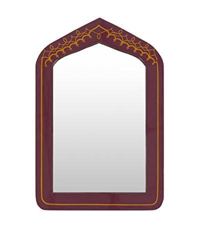 Surya Framed Mirror, Maroon/Yellow