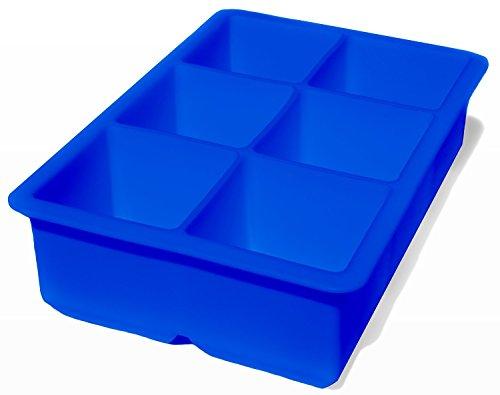 iNeibo bac a glacons/ moule à glaçon en silicone/ moulessilicone pour 6 large cubes de glace, utilisable aussi pour surgeler de nouriture afin qu'ils auront des formes amusantes- sans bpa- 100% silicone alimentaire- lavable au lave-vaisselle (bleu)