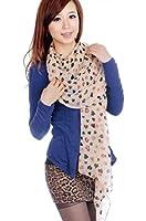 Demarkt Stylish Black and Pink Heart Double Peach Scarf Shawls Women Long Chiffon Scarves Wrap Khaki