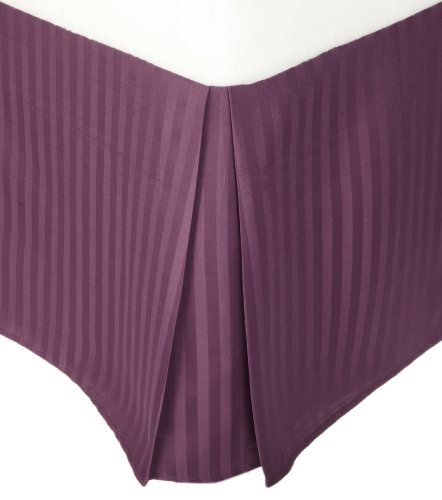 Impressions 1500 Series Wrinkle Resistant Pleated King Bed Skirt Stripe, Plum front-308445