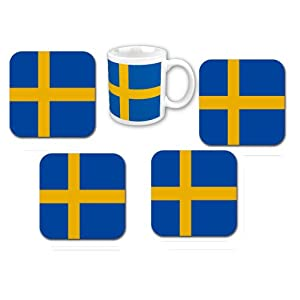 Sweden flag coaster coffee cup set office for Amazon sweden office