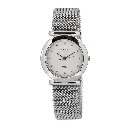 Skagen Designs Ladies Stretch Mesh Analogue Watch 107SSSS1 with White Dial