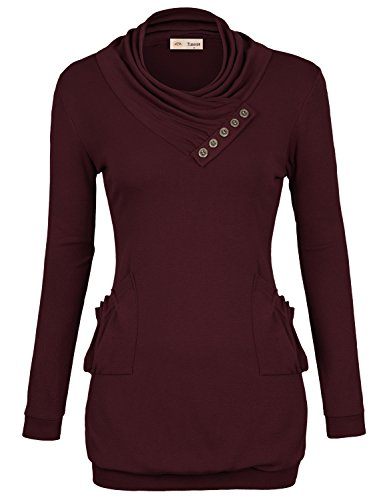 Timeson Womens T-Shirt Long Sleeve Cowl Neck Buttons Tunic Top with Pockets Medium Wine Red (Tunic Tops For Juniors compare prices)