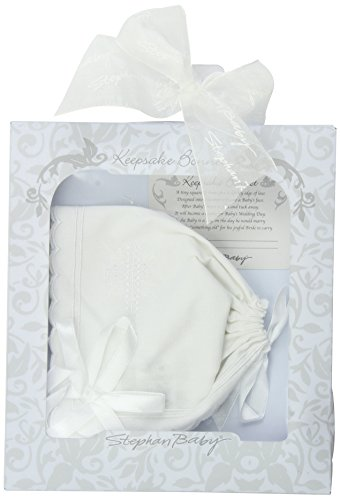 Stephan Baby Keepsake Cutwork Handkerchief Christening Bonnet with Scalloped Hem, White