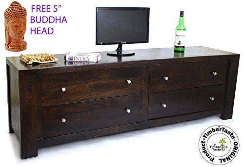 Genuine TimberTaste Solid Wood 1.75 Meter 4DRAW Dark Walnut Lacquer Finish TV Unit Cabinet (Free 5