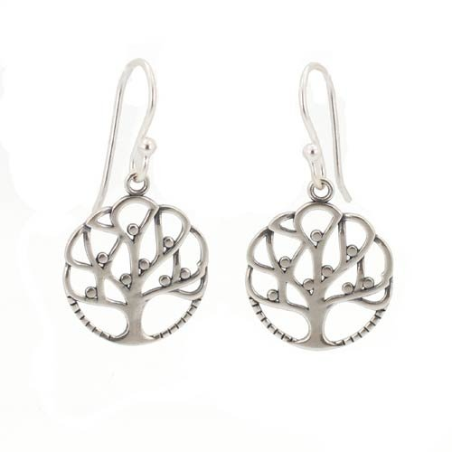 Round Open Design Family Tree of Life Dangle Earrings in Sterling Silver, #7434