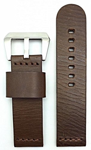 24Mm Dark Brown, Panerai Style, Smooth Leather Watch Band