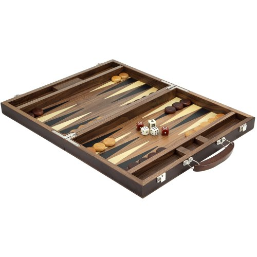 15 Inch Walnut Backgammon Set with Ebony and Maple Inlay