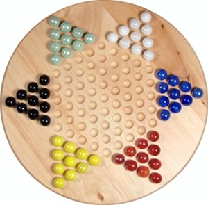 WE Games Solid Wood Chinese Checkers Set with Glass Marbles - 11.5 Inches