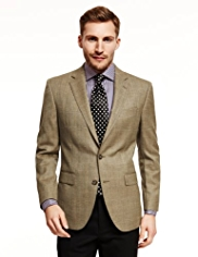 Sartorial Slim Fit Pure Wool 2 Button Herringbone Check Jacket