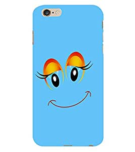 Fiobs Navy Blue Smiling Emoji Phone Back Case Cover for Apple iPhone 6s Plus