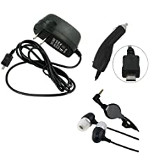 buy Home Wall Charger + Car Power Adapter + Retractable Hands-Free Headset Earbuds W Mic For Verizon Lg Google Nexus 5 - Verizon Lg Lucid 3 - Verizon Motorola Droid Maxx - Verizon Motorola Droid Mini - Verizon Motorola Droid Razr Hd