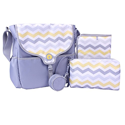 Boppy Vail Diaper Bag, Chevron, Grey/Yellow