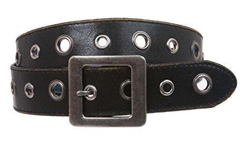 Square Buckle Grommets Vintage Distressed Leather Jean Belt Size: M 33 - 35 Color: Black