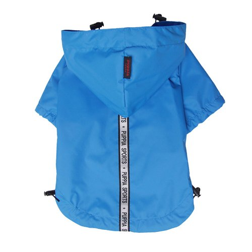 Puppia Authentic Base Jumper Raincoat, Medium, Sky Blue