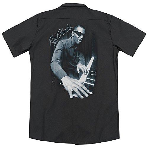 Ray Charles Blues Piano (Back Print) Mens Work Shirt BLACK 2X