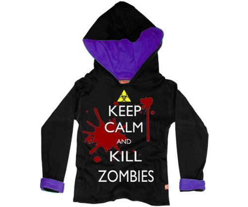 KEEP CALM & KILL ZOMBIES PER BAMBINI CON RAGAZZINA ADOLESCENTE IN PRIMO CALL OF DUTY PORTAL BLACK OPS 2 II CON CAPPUCCIO (NERO) (2 - 3 anni)