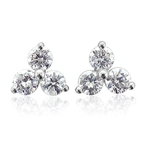 14K White Gold 3 Stone Diamond Stud Earrings