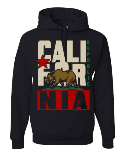 Image of California Republic State Flag Super Retro Block Bold Text Sweatshirt Hoody By Dolphin Shirt Co