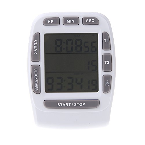 Anself Lcd Digital Timer, Clock, And Stopwatch With Triple Display 3-Line Timer Countdown