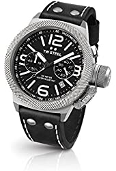 TW Steel CS3 Men's Stainless Steel Canteen Black Leather Strap Band Black Dial Watch
