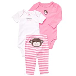 Carter\'s Baby Girls\' 3 Pc Turn Me Around Set - Pink Monkey - Newborn