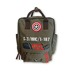 BB Designs Cap'n America Vintage Military Canvas Double Handle Backpack