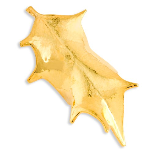 24k Gold Dipped Holly Leaf Pin