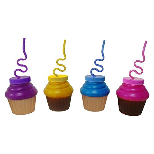 Cupcake 10oz. Sipper Cup w/ Krazy Straw (Each) - Party Supplies