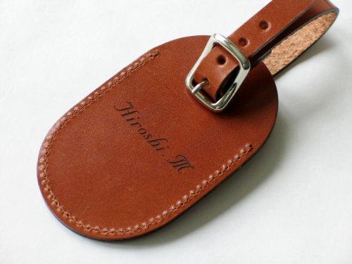 イタリアンレザー 革製 名入れゴルフネームプレート<カラー:ブラウン>
