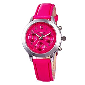 TIME100 Ladies' Fashion Multicolor Multifunction Rose Red Genuine Leather Waterproof Quartz Watch #W70073L.05A