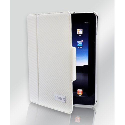 Shield iShell - Pearl White Luxury Leather Case/Flip Stand For Apple iPad - Premium Quality