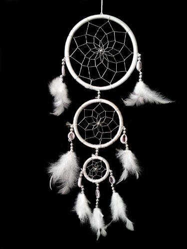 Multi Colors Dream Catcher with Feathers Wall Hanging Ornament (With a Betterdecor Gift Bag) (White)
