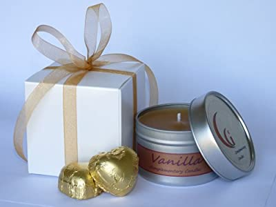 Vanilla Scented Candle Gift With Champagne Chocolate Hearts by Complementary Candles