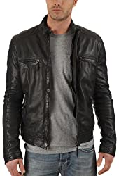 Exemplar Men's Lambskin Leather jacket KL717 Black